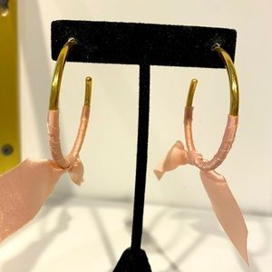 Hoops with pink satin bow accent